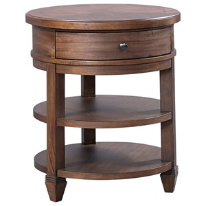 Transitional Round Table Nightstand with Two Shelves and One Drawer