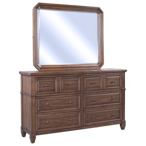 Transitional Six Drawer Dresser and Storage Mirror Set with Felt-Lined Jewelry Racks
