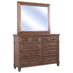 Transitional Eight Drawer Chesser and Mirror Set with Media Storage