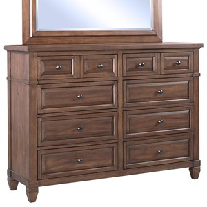 Transitional Eight Drawer Chesser with Media Storage