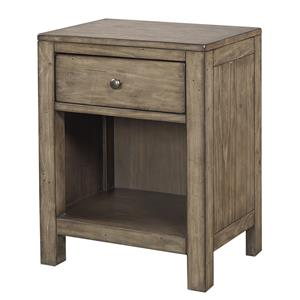 One Drawer Nightstand with Open Shelf