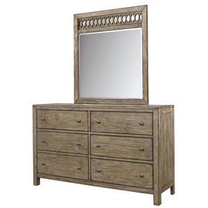 6 Drawer Dresser and Fret Mirror