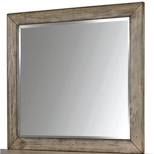 Landscape Mirror with Beveled Edge and Wood Frame