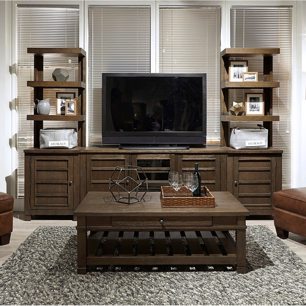 "Tucker 65"" Console with Piers by Aspenhome at Baer's Furniture"