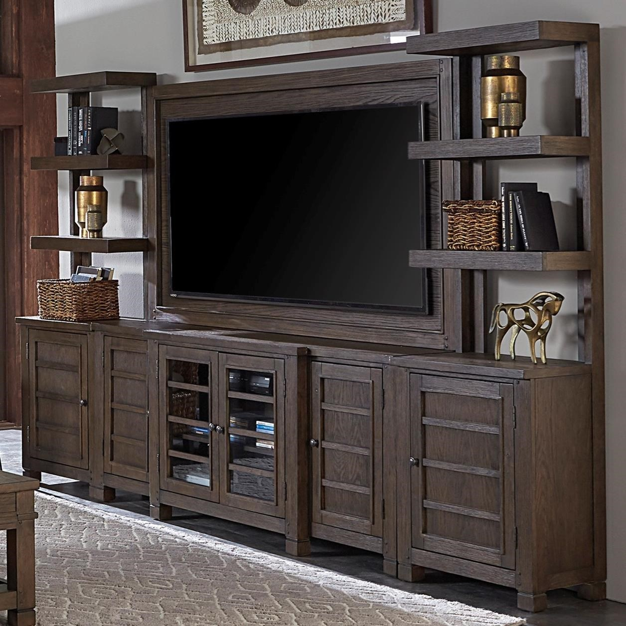 """Tucker 75"""" Console with TV Backer and Piers by Aspenhome at Walker's Furniture"""