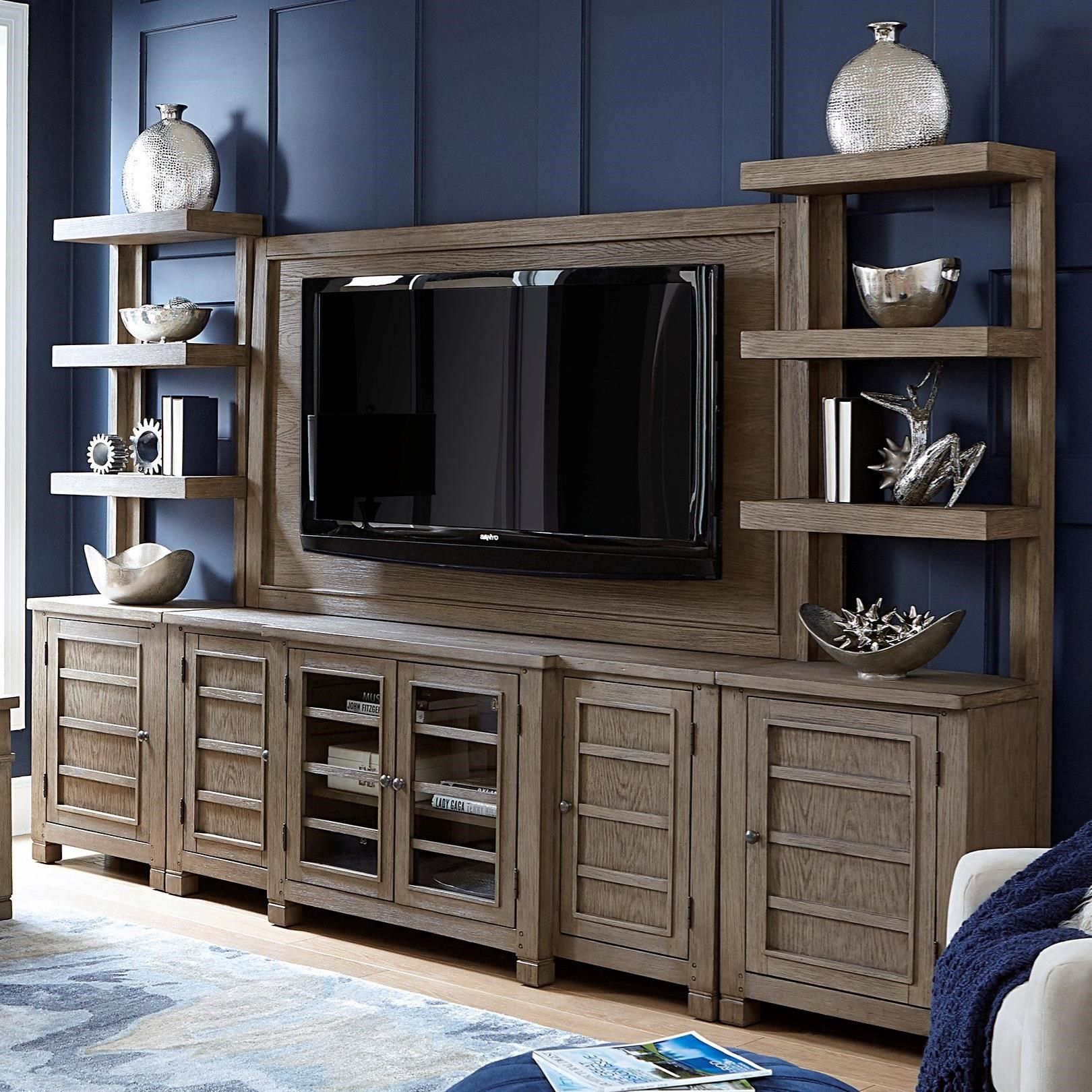 """Tucker 75"""" Console with TV Backer and Piers by Aspenhome at Baer's Furniture"""