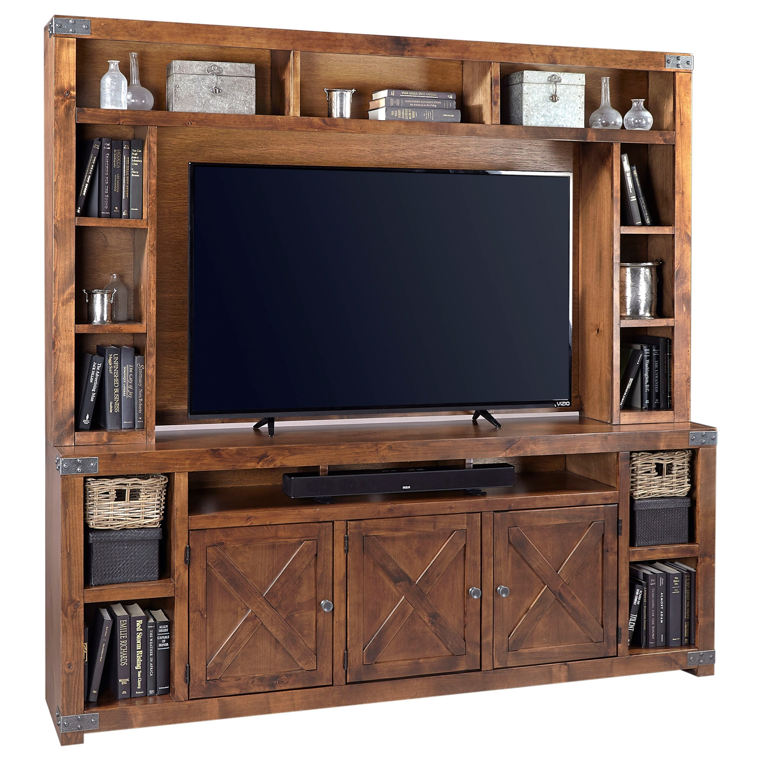 """Urban Farmhouse 84"""" Console and Hutch by Aspenhome at Walker's Furniture"""