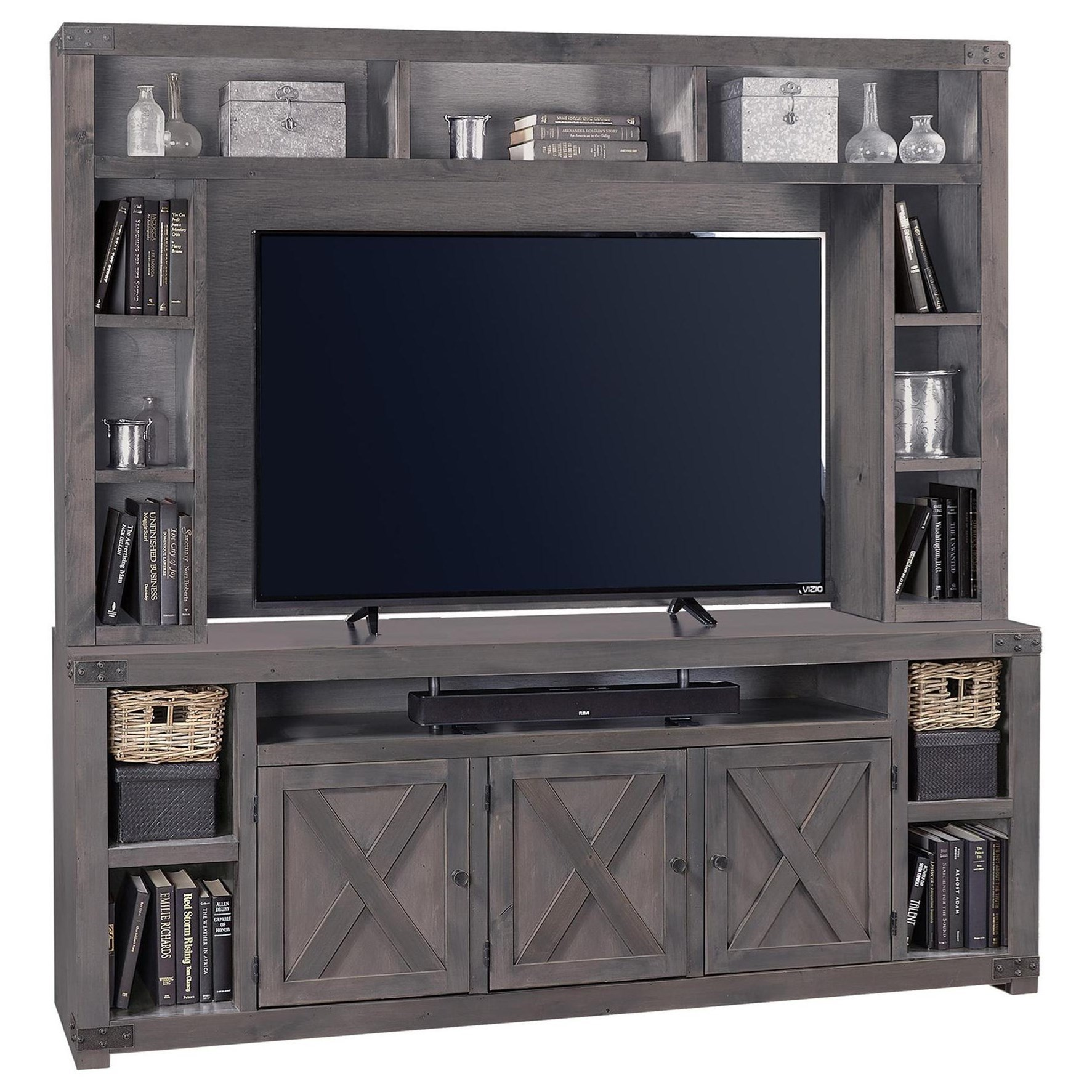 """Urban Farmhouse 84"""" Console and Hutch by Aspenhome at Baer's Furniture"""