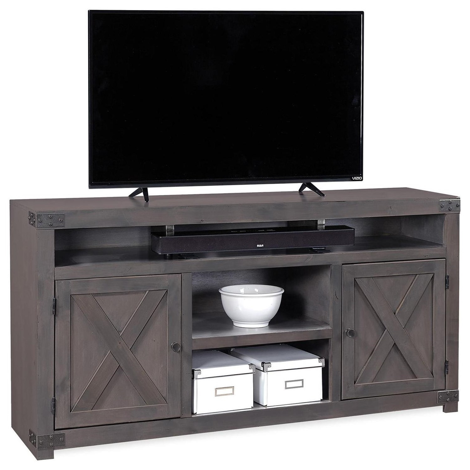"Urban Farmhouse 65"" Entertainment Console  by Aspenhome at Walker's Furniture"
