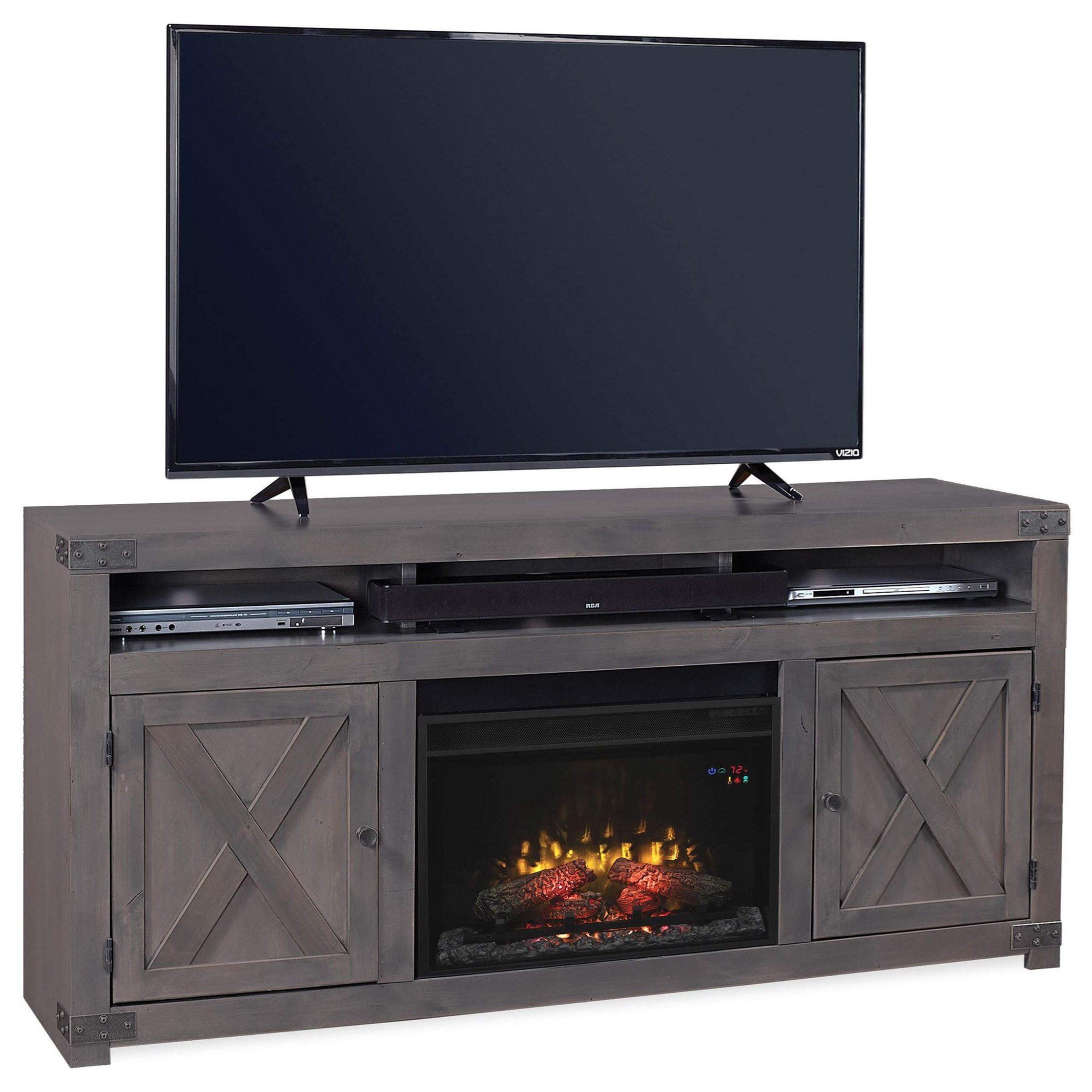 """Urban Farmhouse 72"""" Fireplace Console  by Aspenhome at Walker's Furniture"""