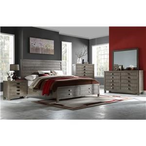 Queen Storage Bed with Dresser, Mirror, and Nightstand with Wireless Charger & USB Port