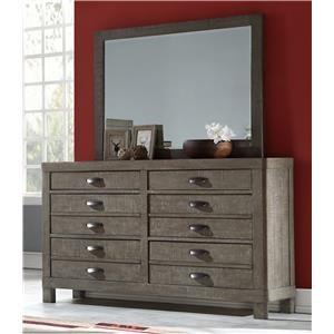 Dresser with Hidden Jewelry Drawer & Beveled Mirror