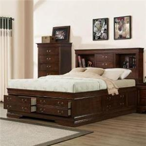 Austin Group Big Louis King Transitional Storage Bed with Bookcase
