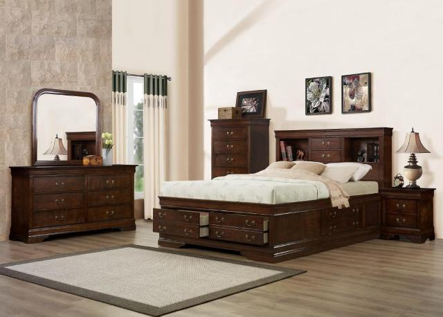 King Storage Bed, Dresser, Mirror & Nighstand