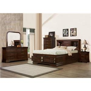 Austin Group Big Louis Queen Storage Bed, Dresser, Mirror & Nighsta