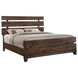 King Panel Bed with Metal Accents
