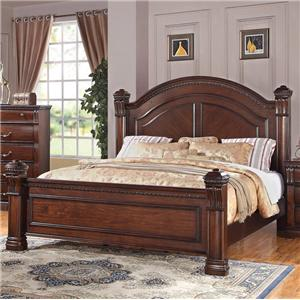 Traditional King Bed with Square Finials and Round Headboard