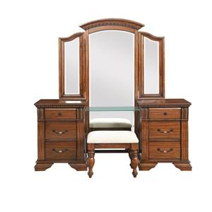 Vanity with tri-fold mirror and stool
