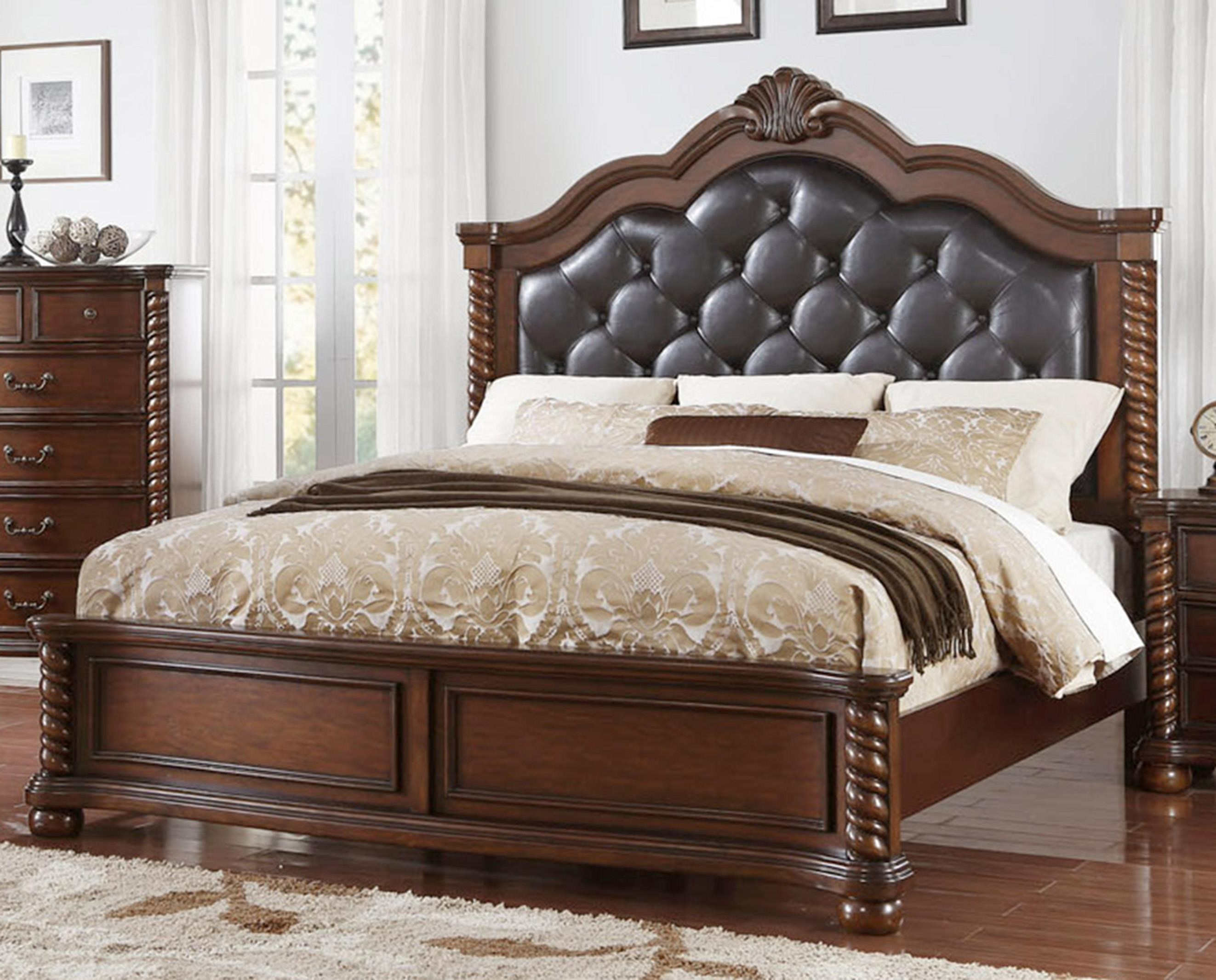 Queen Bed with Diamond-Tufted Headboard