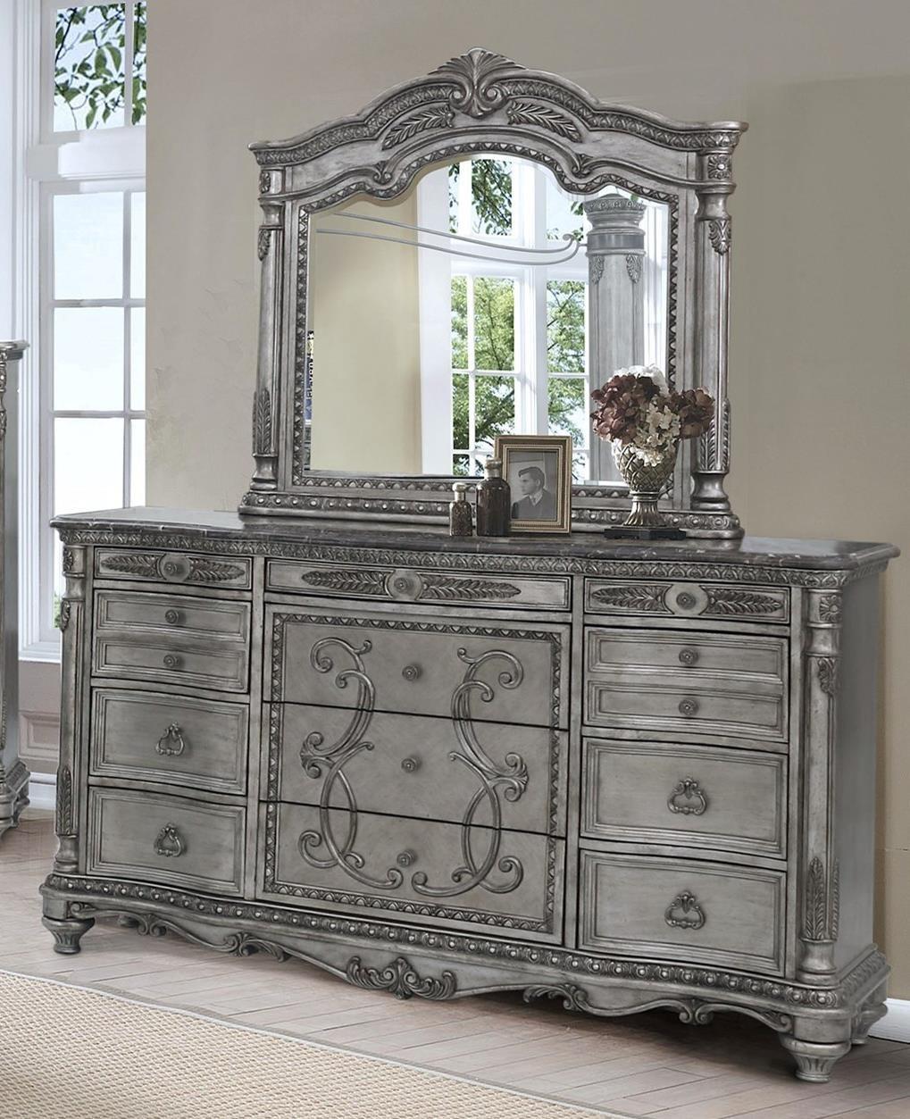 Antique Platinum Dresser and Mirror Set by Avalon Furniture at Wilcox Furniture