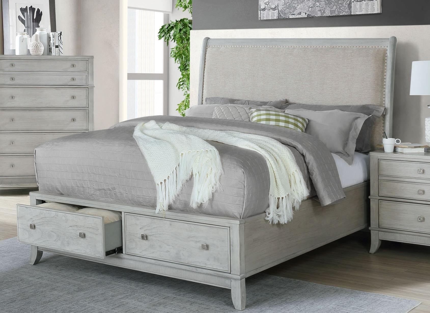 B00191 King Upholstered Sleigh Bed by Avalon Furniture at Household Furniture