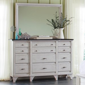 Transitional Dresser with Felt Lined Top Drawers and Mirror