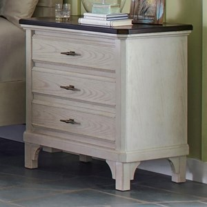 Transitional 3 Drawer Nightstand with Double USB Charger