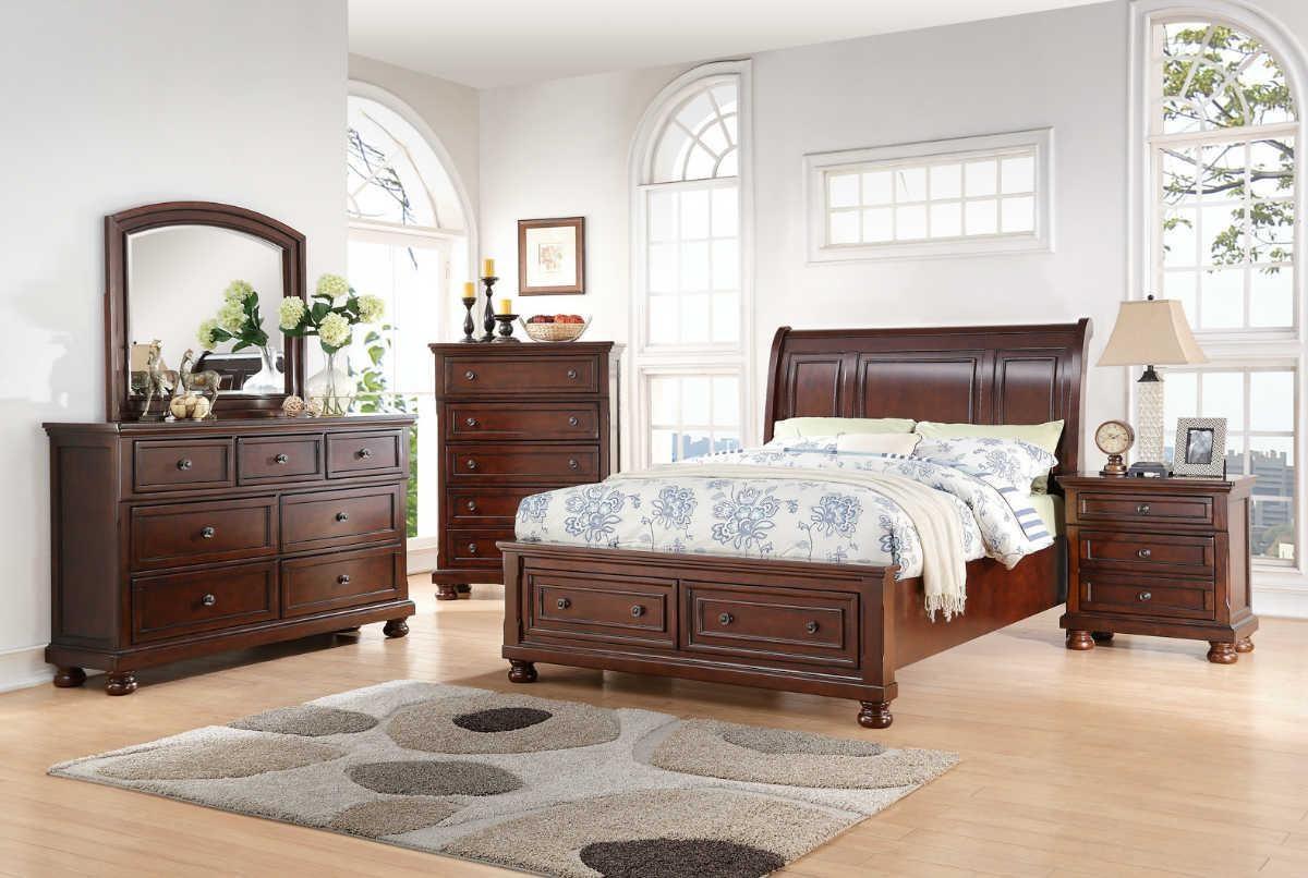 King Storage Bed, Dresser, Mirror & Nightstand