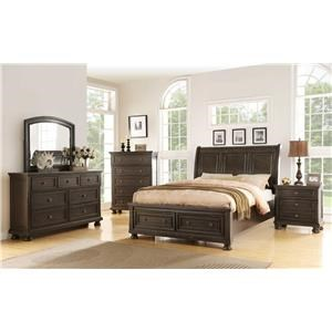 King Storage Bed, Dresser, Mirror & Nightstand