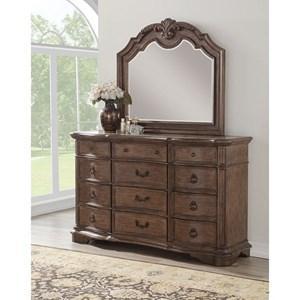 Traditional 12 Drawer Dresser Mirror Set with Cedar Lining
