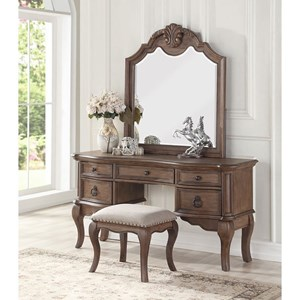 Traditional Vanity Mirror Set with Five Drawers