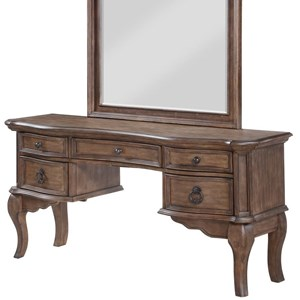 Traditional Vanity Desk with Five Drawers
