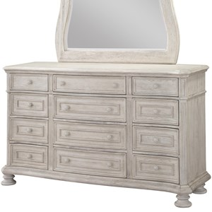Traditional 12 Drawer Dresser with Felt Lined Top Drawer