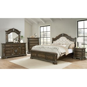Dresser, Mirror, King Headboard, Footboard and Rails with supports