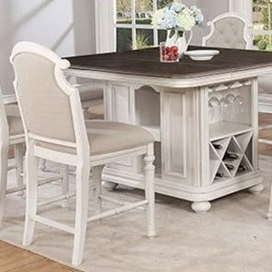 Cottage Counter Height Chair with Tufted Back