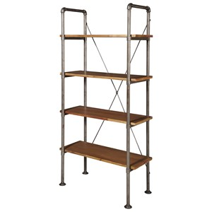 Industrial Style Bookcase with Scaffolding Pipe Shelving