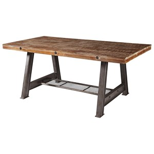 Dining Table with Solid Wood Top and A-Frame Industrial Style Base