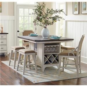 Kitchen Island, 4 Backless Stools & 2 Gathering Chairs
