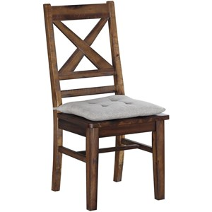 Rustic Solid Wood Dining Side Chair with Tie on Cushion