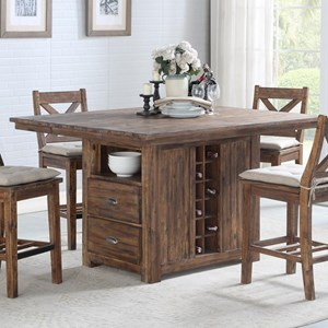 Rustic Solid Wood Kitchen Island with Built In Bottle Storage