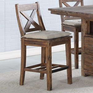 Rustic Solid Wood Gathering Stool with Tie Cushion