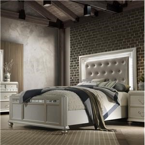 Glam Queen Upholstered Bed with LED Remote Headboard