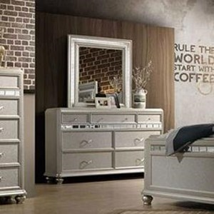 Glam Seven Drawer Dresser with Mirror Accenting