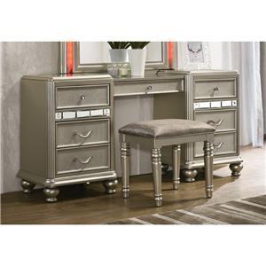 Vanity Desk with Center Drawer