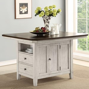 Relaxed Vintage Kitchen Island with Leaf