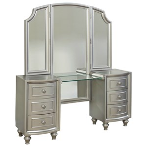 Glam Vanity with Tri Fold Mirror