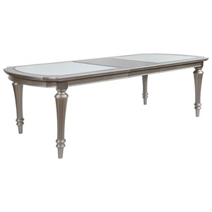 "Glam Rectangular Leg Table with 2 18"" Leaves"