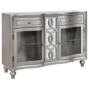 Glam Sideboard with Mirrored Accents