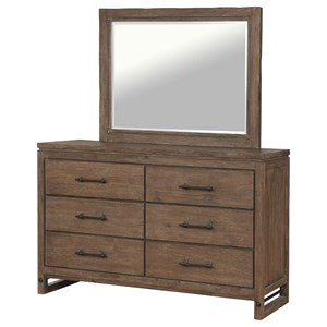 Contemporary 6-Drawer Dresser and Mirror Set with Felt Lined Top Drawers