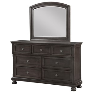 Traditional Seven Drawer Dresser and Mirror Set